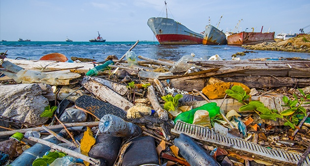 Ocean polluted with plastic wastes
