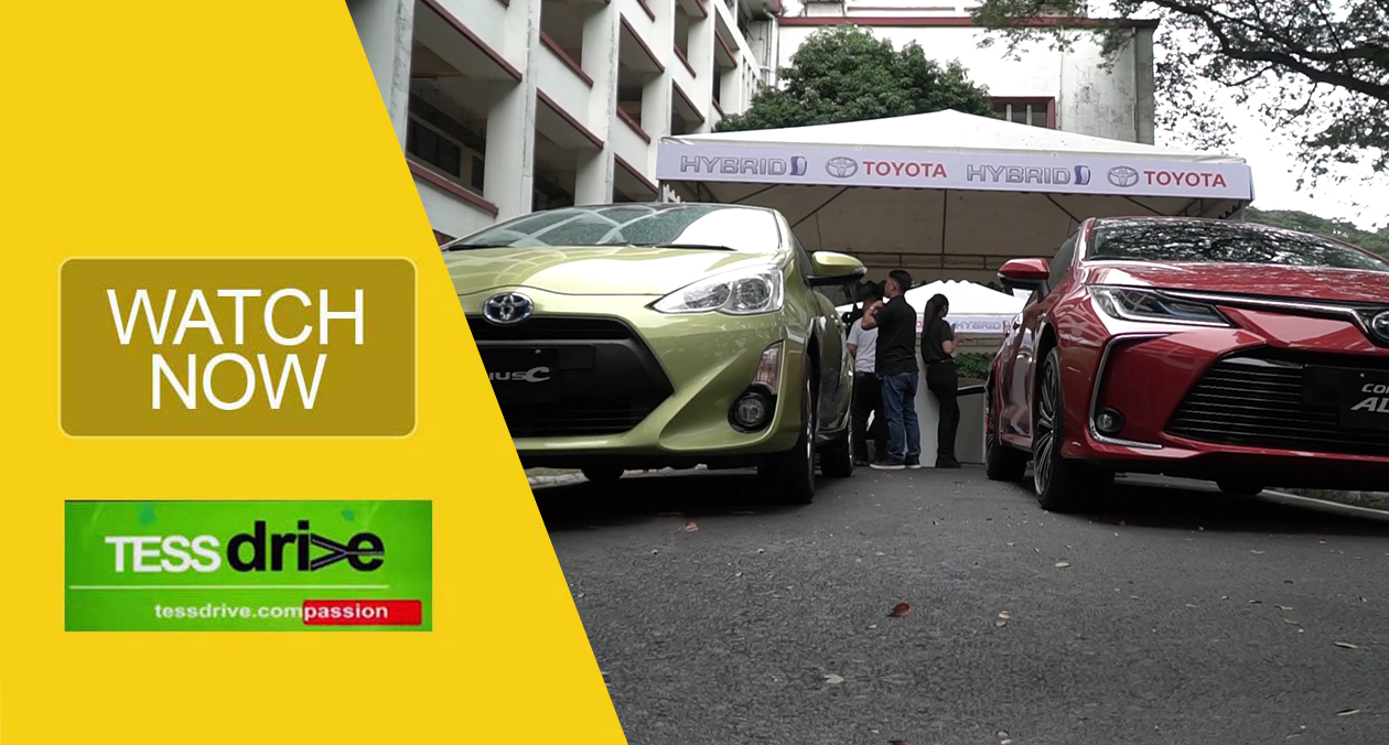 Toyota electric vehicles parked in front of the Melchor Hall in UP Diliman