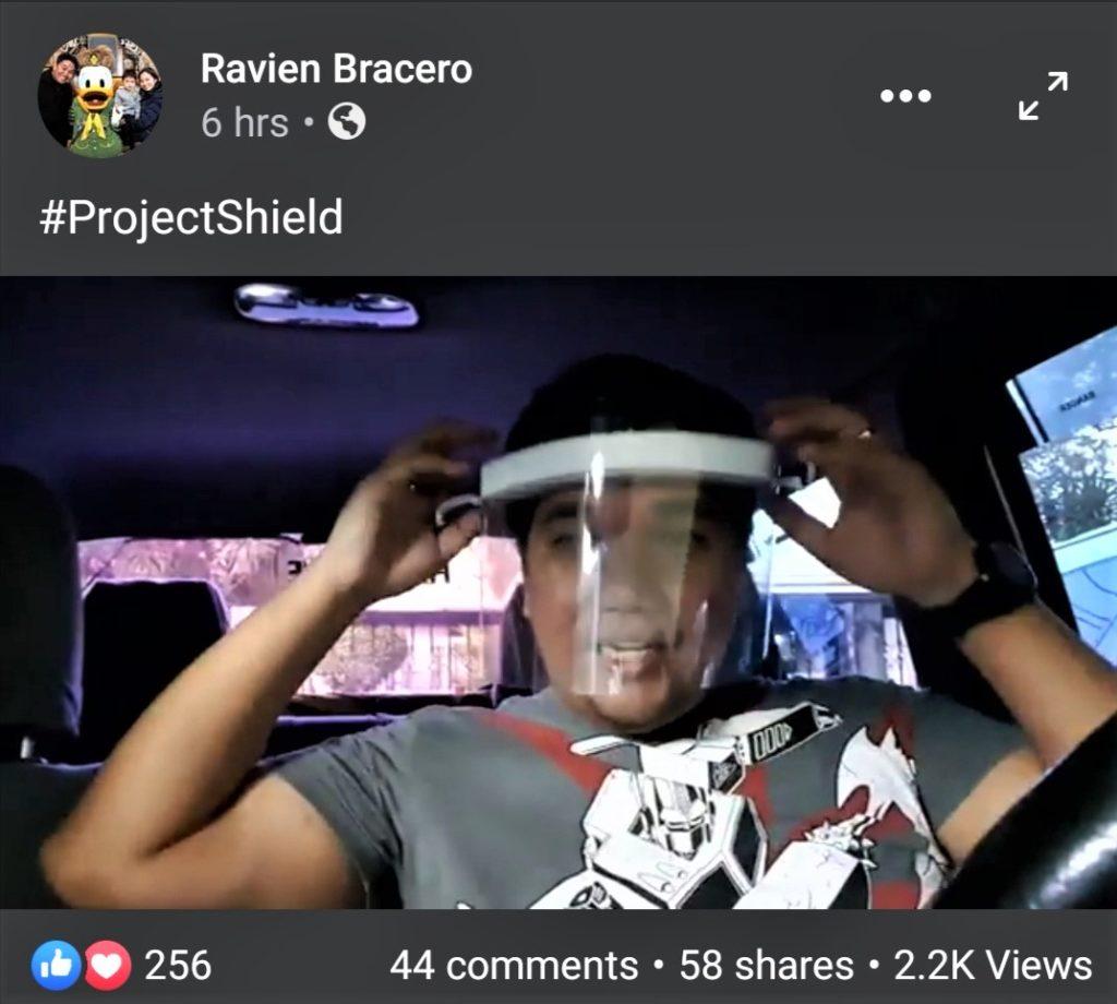 Ravien Bracero demonstrating his #ProjectShield initiative.