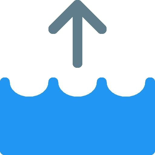 Artwork of flood with an upward arrow