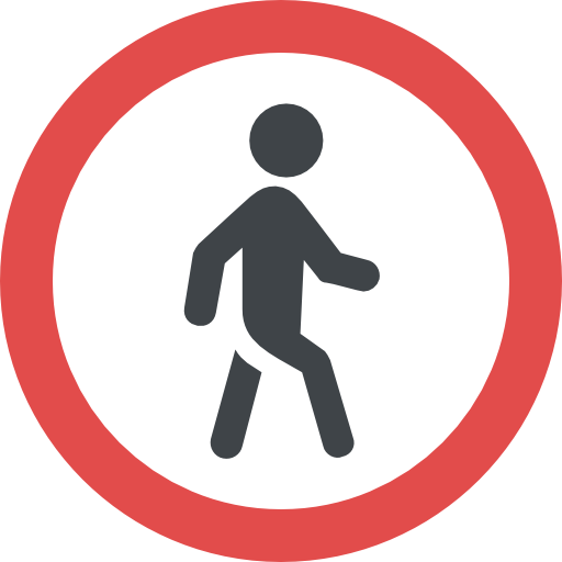 artwork of a pedestrian walking with a red circle