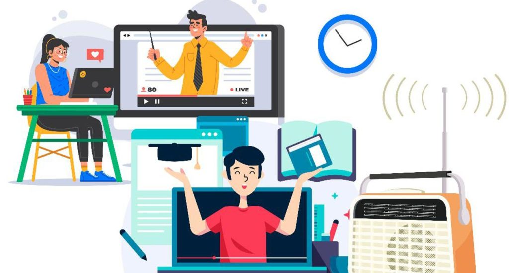 Cartoon of students and a teacher interacting via their gadgets
