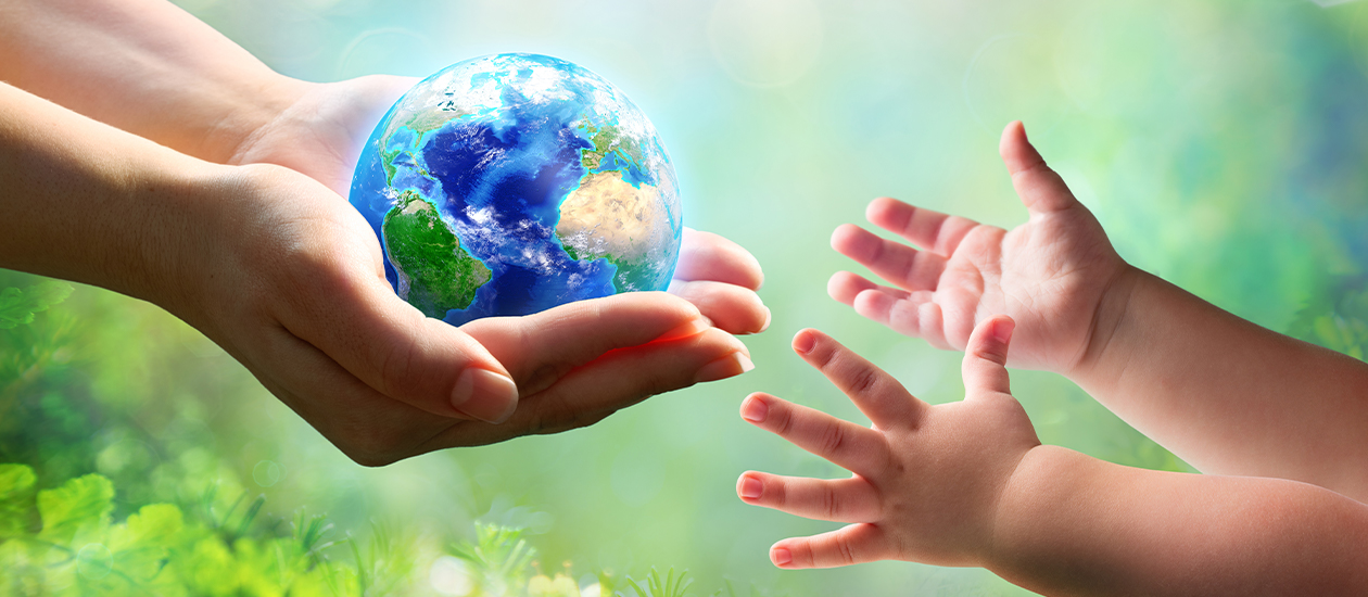 Artwork of a woman's hand holding the earth and handing it over to a tiny set of hands