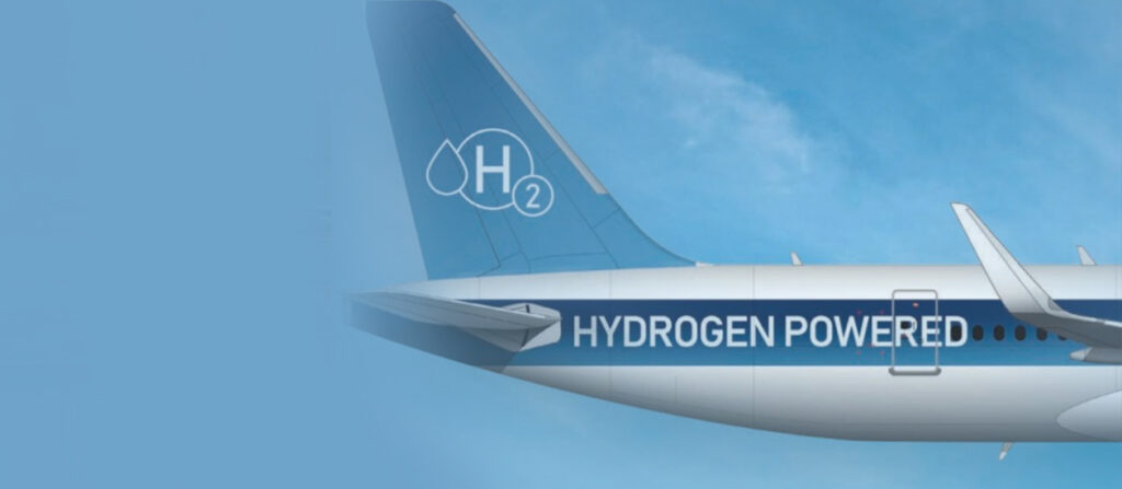 Creative visualization of a hydrogen-powered airplane
